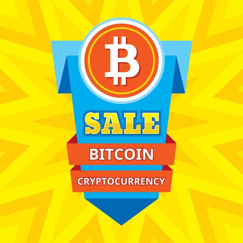 Cryptocurrency de blockchain de bitcoin de vente - illustration créative de vecteur Symbole de concept d'argent de Digital Banniè illustration de vecteur