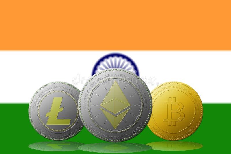 Cryptocurrency de Litecoin Ethereum Bitcoin avec le drapeau d'INDE sur le fond illustration stock