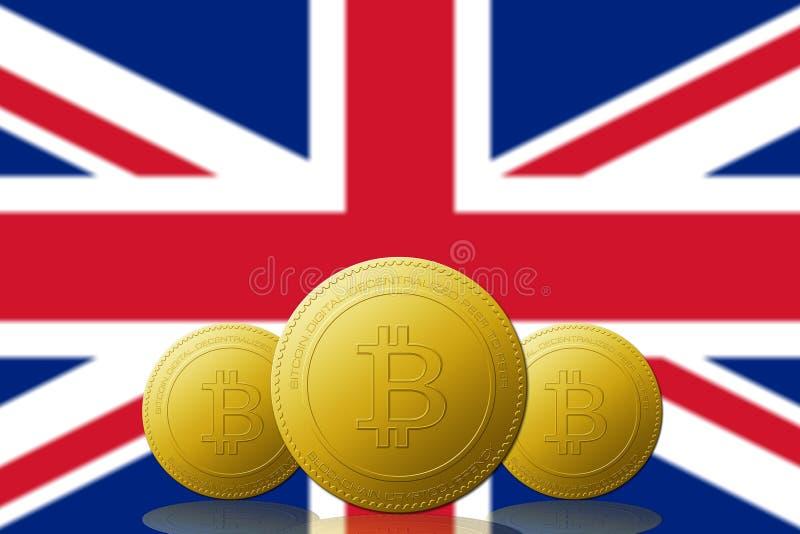 Cryptocurrency de três Bitcoin com a bandeira de REINO UNIDO no fundo ilustração royalty free