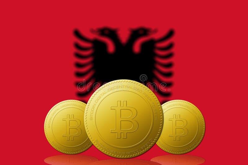 Cryptocurrency de três Bitcoins com a bandeira de Albânia no fundo ilustração royalty free