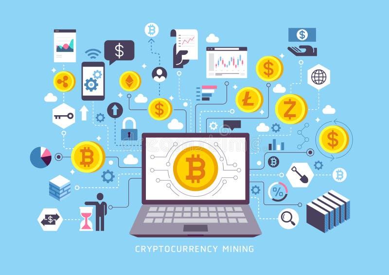 Cryptocurrency die conceptueel ontwerp ontginnen royalty-vrije illustratie