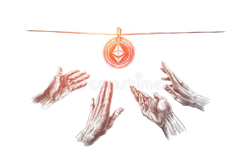 Cryptocurrency, digitaal geld, ethereum, financiënconcept Hand getrokken geïsoleerde vector vector illustratie