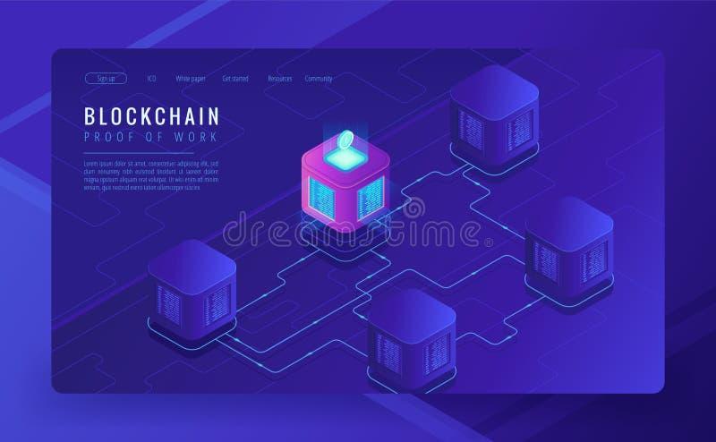 Cryptocurrency do blockchain e conceito isométricos de transferência de dados ilustração do vetor