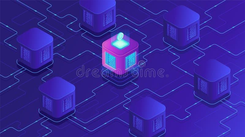 Cryptocurrency do blockchain e conceito isométricos de transferência de dados ilustração stock