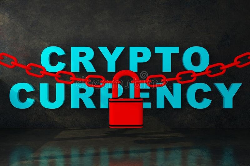 Cryptocurrency in dungeon under lock with chain. 3d rendering vector illustration