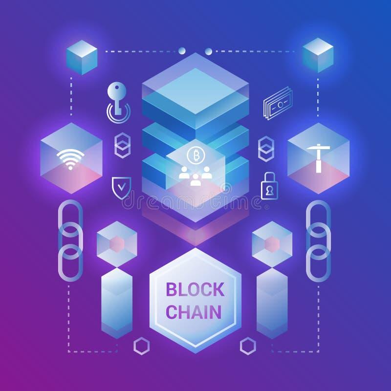Cryptocurrency e conceito isométrico do blockchain Ilustração isométrica do vetor Design web, bandeira da apresentação ilustração do vetor