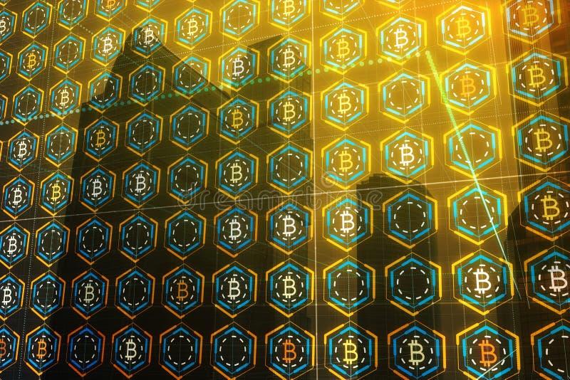 Cryptocurrency e concetto di commercio elettronico illustrazione di stock