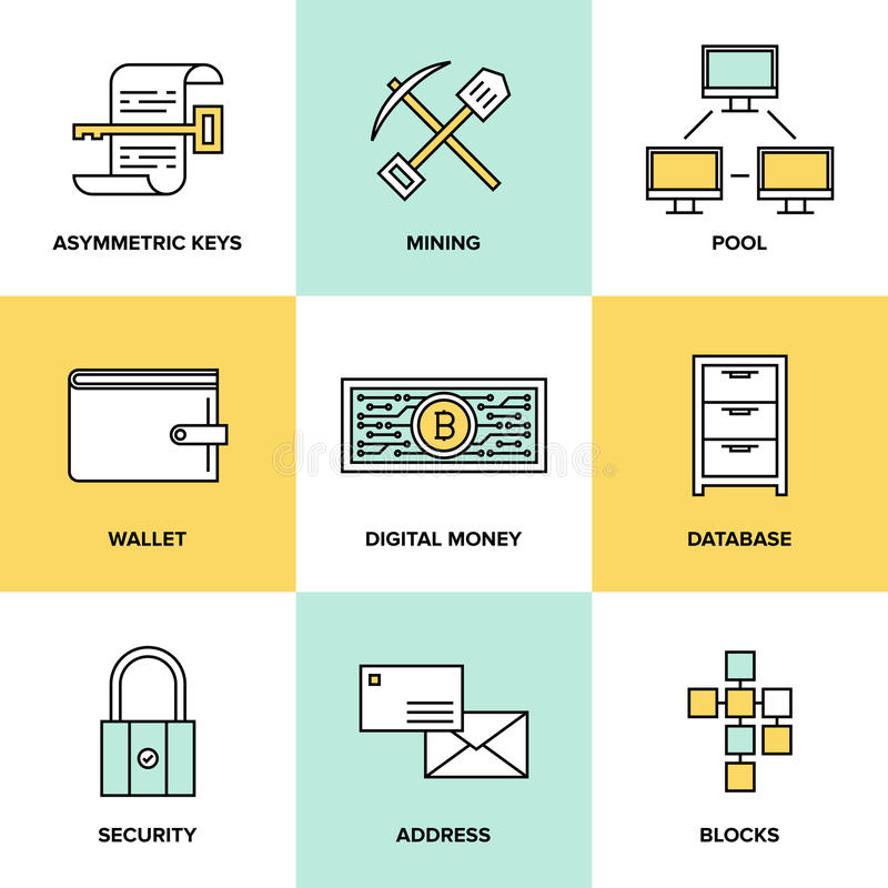 Cryptocurrency e iconos planos del dinero digital fijados libre illustration