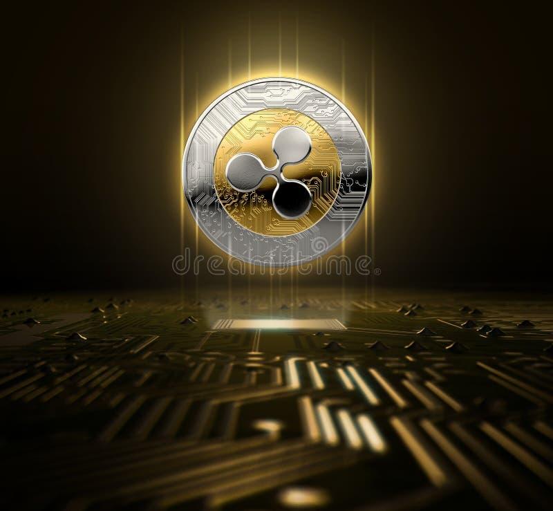 Cryptocurrency e placa de circuito ilustração do vetor