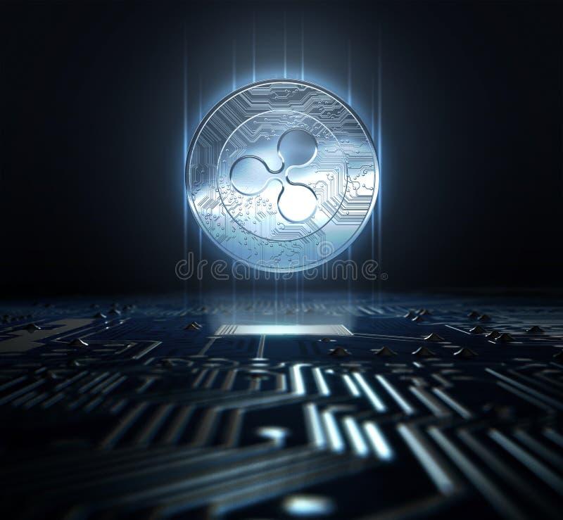 Cryptocurrency e placa de circuito ilustração royalty free