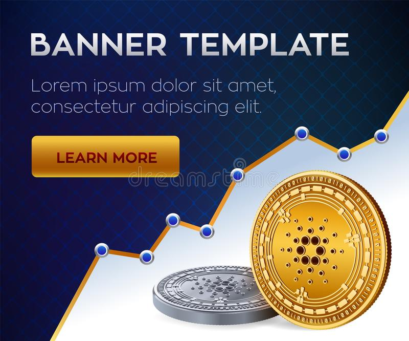 Cryptocurrency editable banner template. Cardano. 3D isometric Physical bit coin. Golden and silver Cardano coins. Stock vector il. Lustration vector illustration