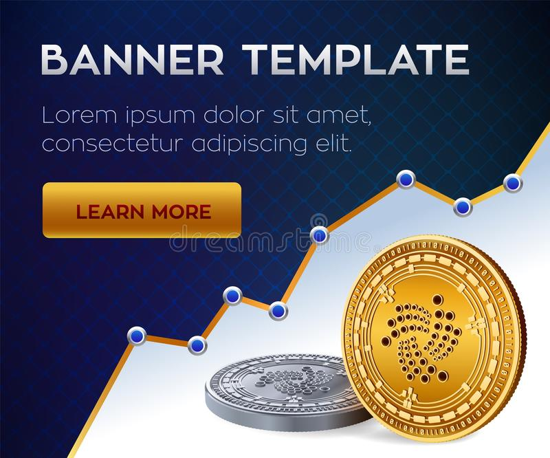 Cryptocurrency editable banner template. Iota. 3D isometric Physical bit coin. Golden and silver Iota coins. Stock vector illustra. Tion royalty free illustration