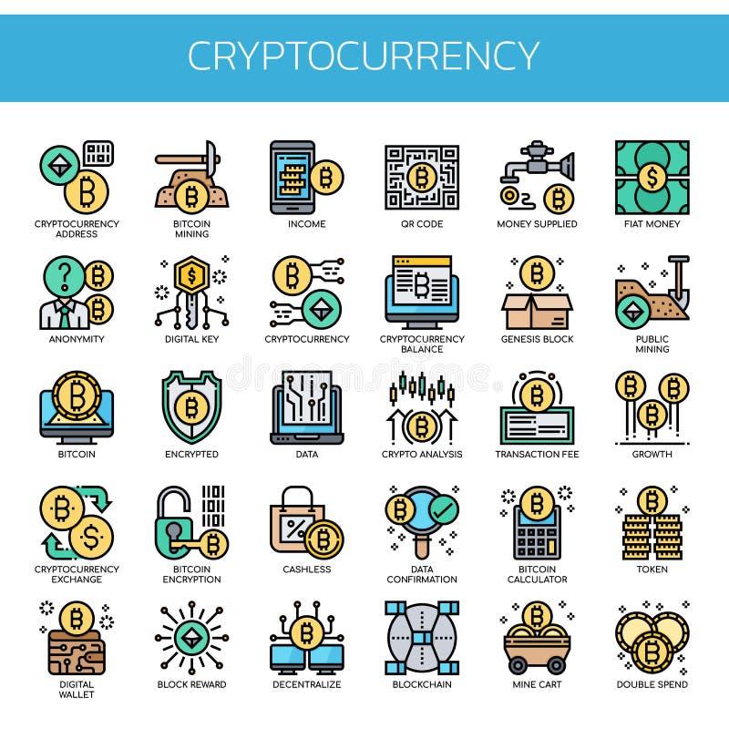 Cryptocurrency-Elemente, Pixel-perfekte Ikonen lizenzfreie stockfotos