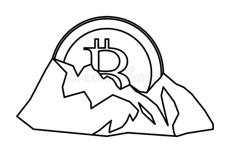 Cryptocurrency embedded in the ground black and white. Cryptocurrency embedded in the ground mining bitcoin black and white vector illustration graphic design royalty free illustration
