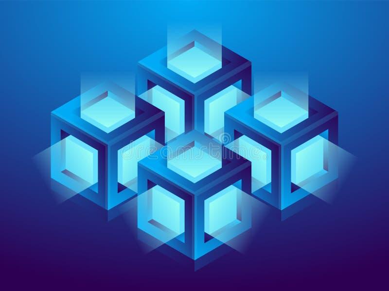Cryptocurrency en blockchain, vat isometrische 3D illustratie samen Het landbouwbedrijf van de Cryptocurrencymijnbouw, vectortech royalty-vrije illustratie