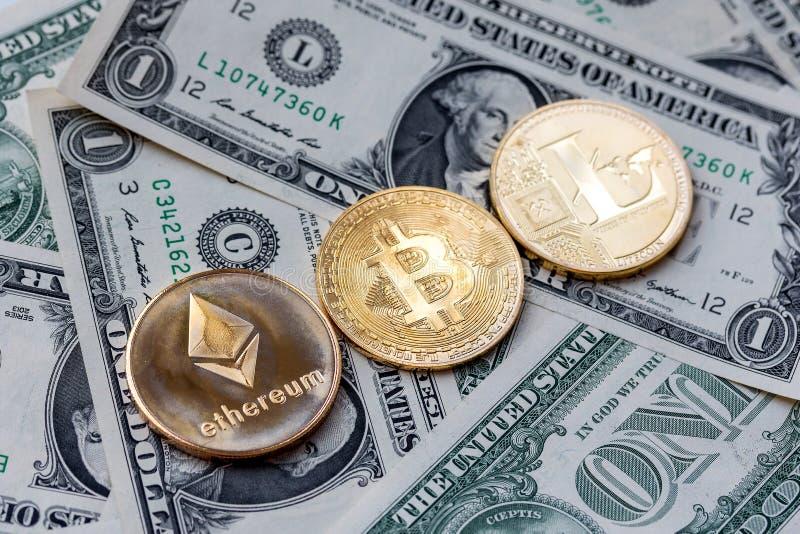 Cryptocurrency est des capitaux numériques conçus pour travailler comme milieu image libre de droits