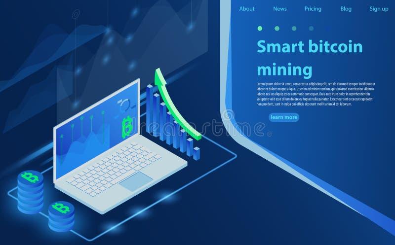 Cryptocurrency et blockchain Ferme d'exploitation de Bitcoin Création de la devise numérique illustration de vecteur