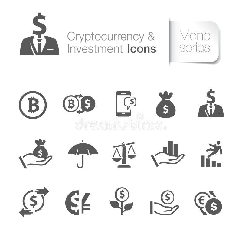 Cryptocurrency et icônes d'investissement illustration de vecteur