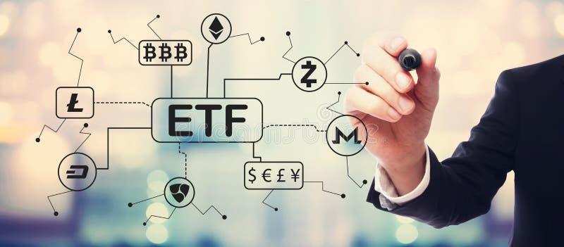 Cryptocurrency ETF tema med aff arkivbild
