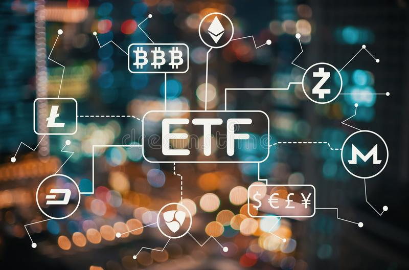 Cryptocurrency ETF theme with blurred city lights. Cryptocurrency ETF theme with blurred city abstract lights background royalty free illustration