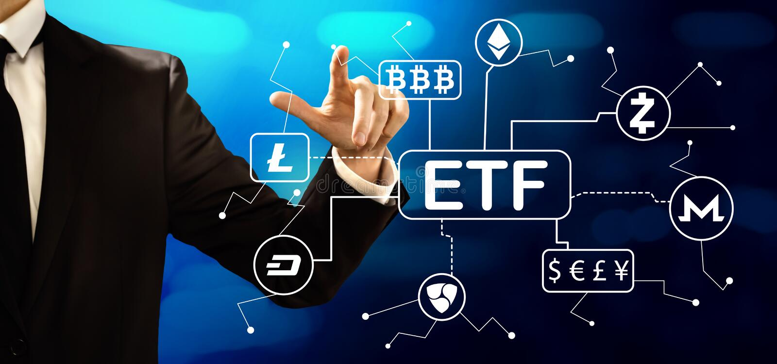 Cryptocurrency ETF theme with businessman. On a dark blue background stock photo
