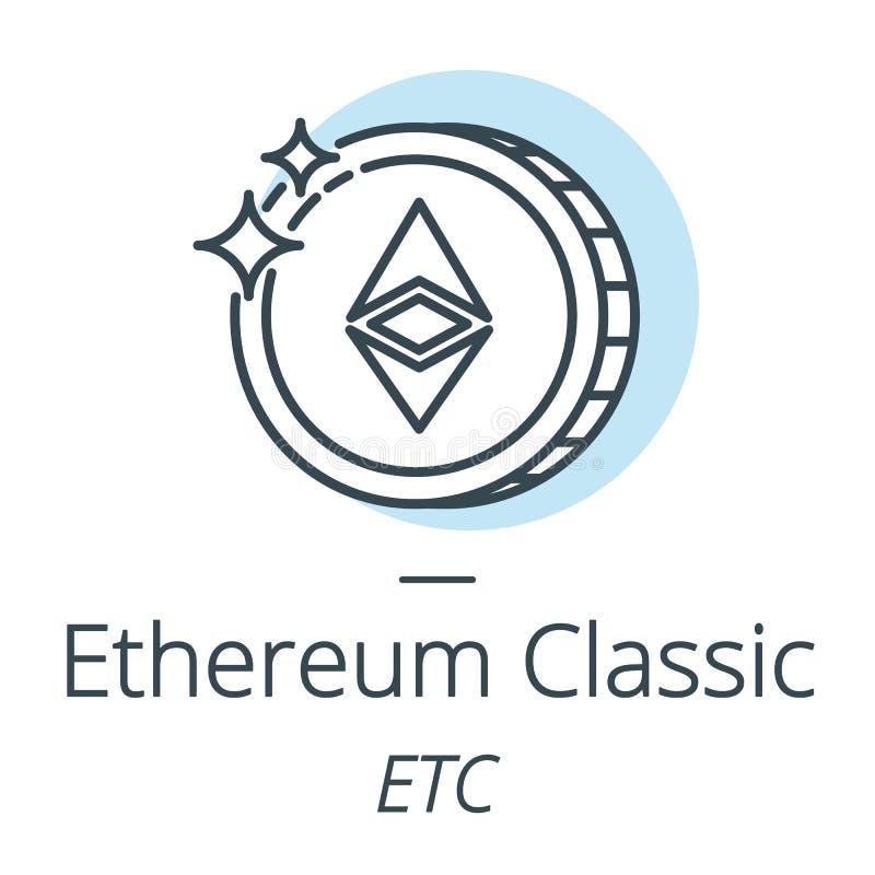 Cryptocurrency Ethereum klassische Münzenlinie, Ikone der virtuellen Währung stock abbildung