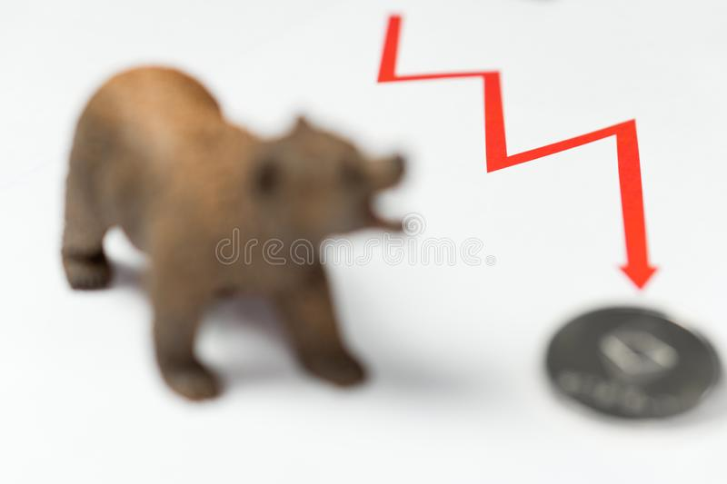 Cryptocurrency Ethereum price crash and drop as a bear trend concept royalty free stock images