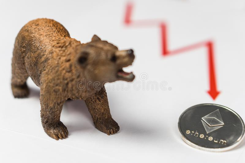 Cryptocurrency Ethereum price crash and drop as a bear trend concept stock photography