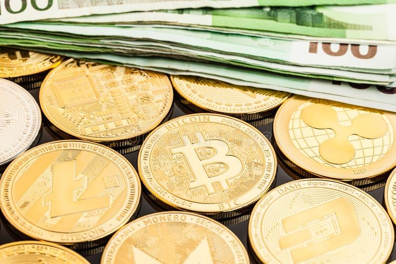 Cryptocurrency and Euro money stock photography