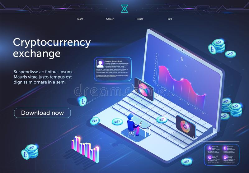 Cryptocurrency Exchange Banner. Digital Business. Cryptocurrency Exchange Horizontal Banner. Tiny Male Character Sitting in Front of Huge Laptop Screen with royalty free illustration