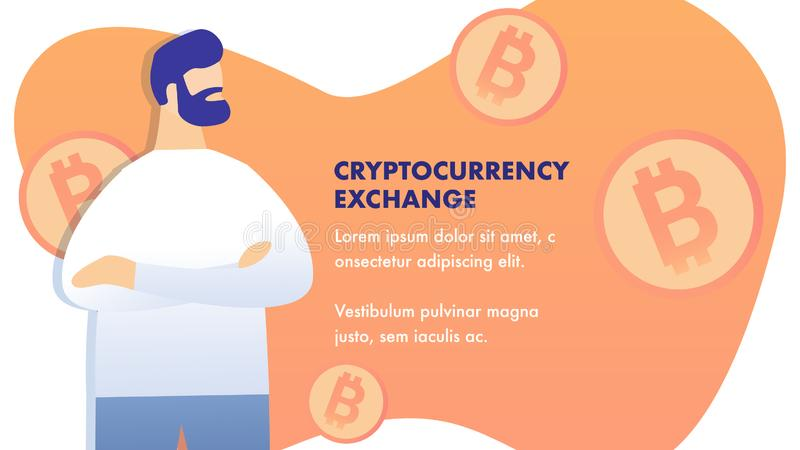 Cryptocurrency Exchange Flat Banner Vector Layout stock illustration