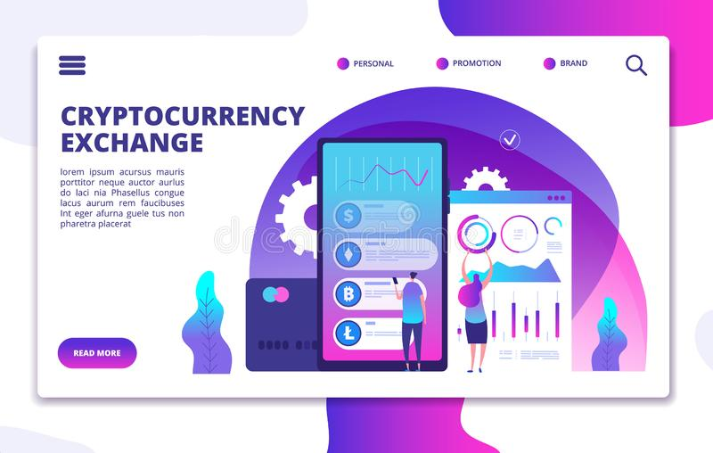 Cryptocurrency exchange landing page. Online crypto payment. Business marketplace web vector design royalty free illustration