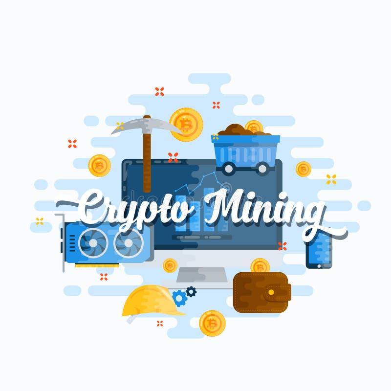 Cryptocurrency extrayant l'illustration moderne de style plat abstrait de vecteur Devise de Bitcoin Digital, outils de extraction illustration stock