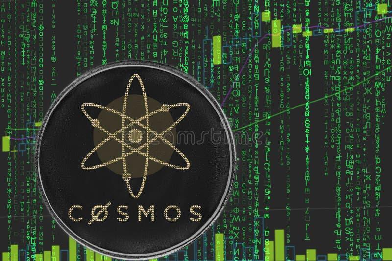 Cryptocurrency för myntkosmosatom på bakgrunden av binär crypto matristext och prisdiagrammet arkivbilder