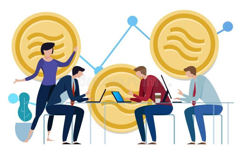 Cryptocurrency Facebook Libra και bitcoin cryptocurrency, έννοια νομισμάτων Libra διάγραμμα επένδυσης ομαδικής εργασίας ελεύθερη απεικόνιση δικαιώματος
