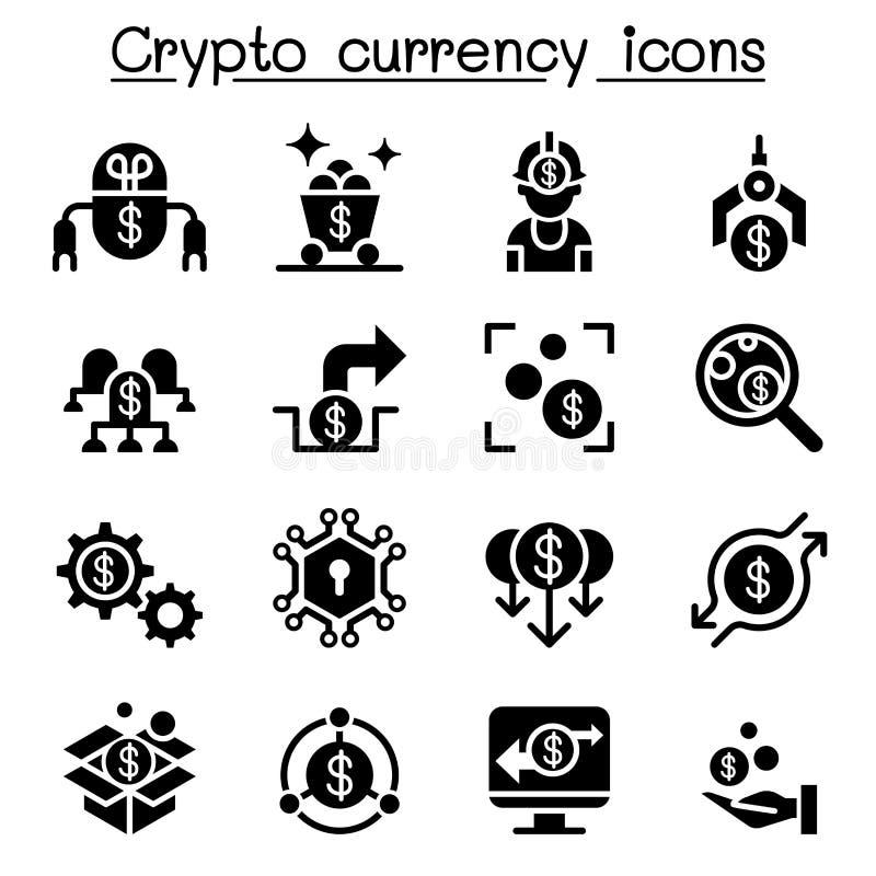 Cryptocurrency & Fintech symbolsuppsättning stock illustrationer