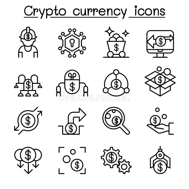 Cryptocurrency & Fintech symbolsuppsättning i den tunna linjen stil stock illustrationer
