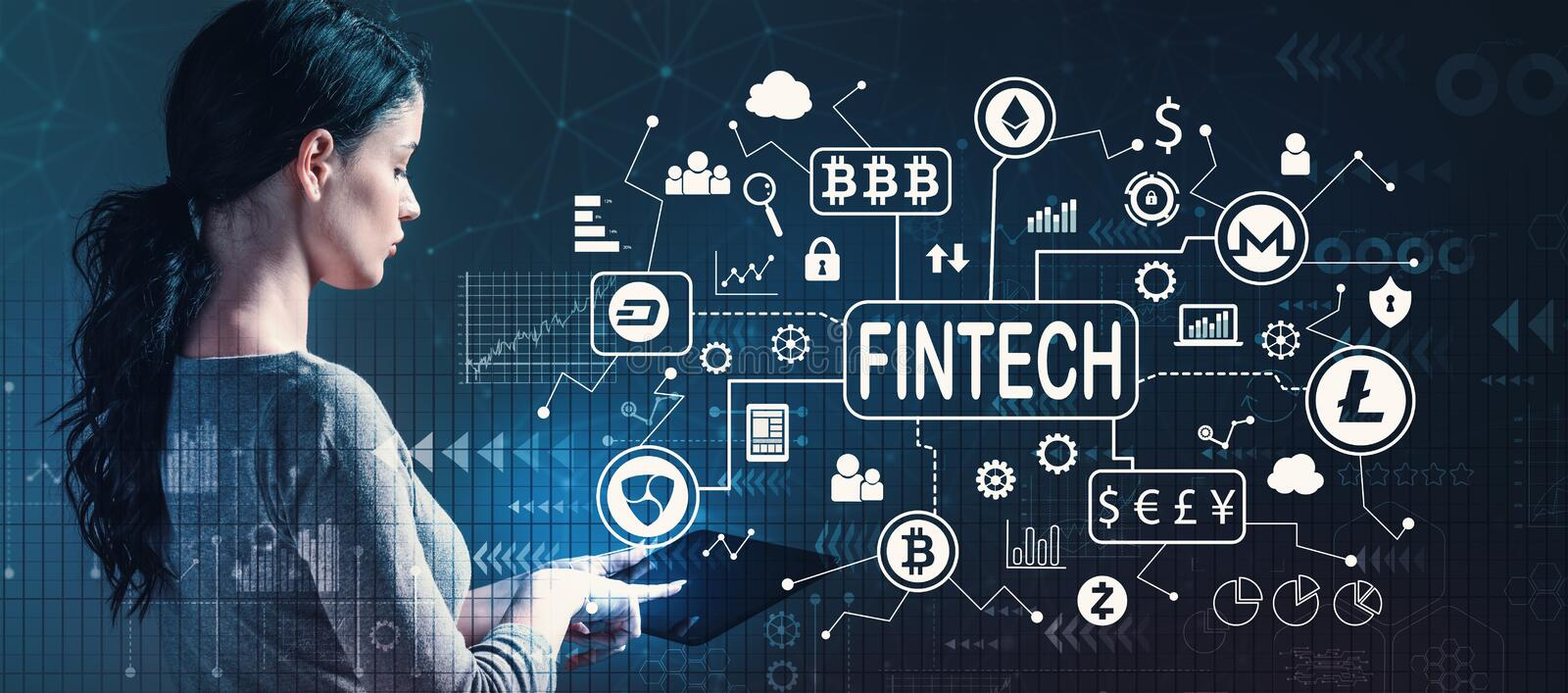 Cryptocurrency fintech theme with woman using a tablet. Cryptocurrency fintech theme with business woman using a tablet computer stock image