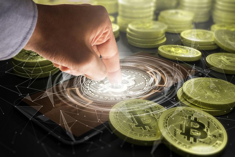 Cryptocurrency and future technology concept stock photo