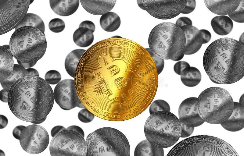 Cryptocurrency gele illustratie van het Bitcoin gouden muntstuk royalty-vrije illustratie