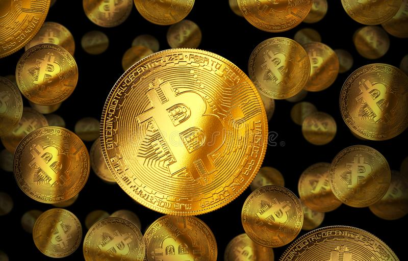 Cryptocurrency gele illustratie van het Bitcoin gouden muntstuk vector illustratie