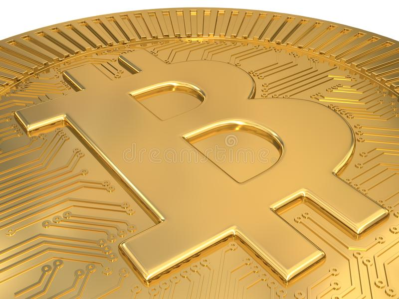 Cryptocurrency gold bitcoin - BTC. Macro 3d illustration. Isolated on white background vector illustration