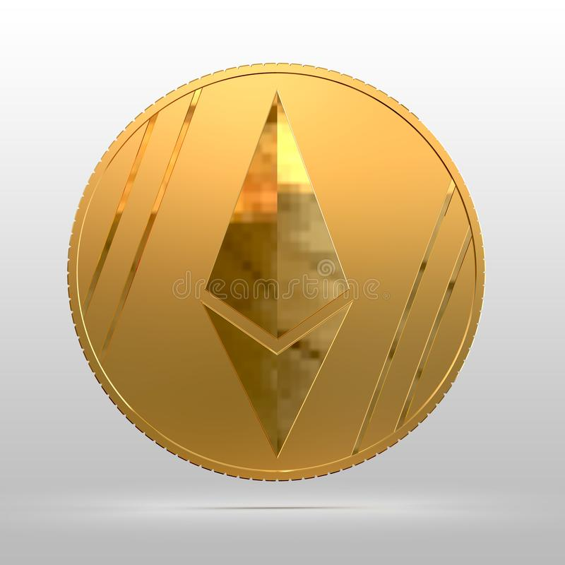 Cryptocurrency gold coin ethereum close-up. 3d illustration. Cryptocurrency gold coin ethereum. Electronic money. 3d illustration stock illustration