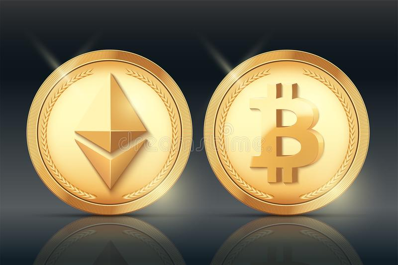 Cryptocurrency Gold coin set royalty free illustration
