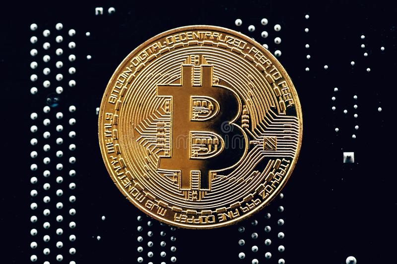 Cryptocurrency Golden Bitcoin Coin On Printed Circuit Board - Symbol ...