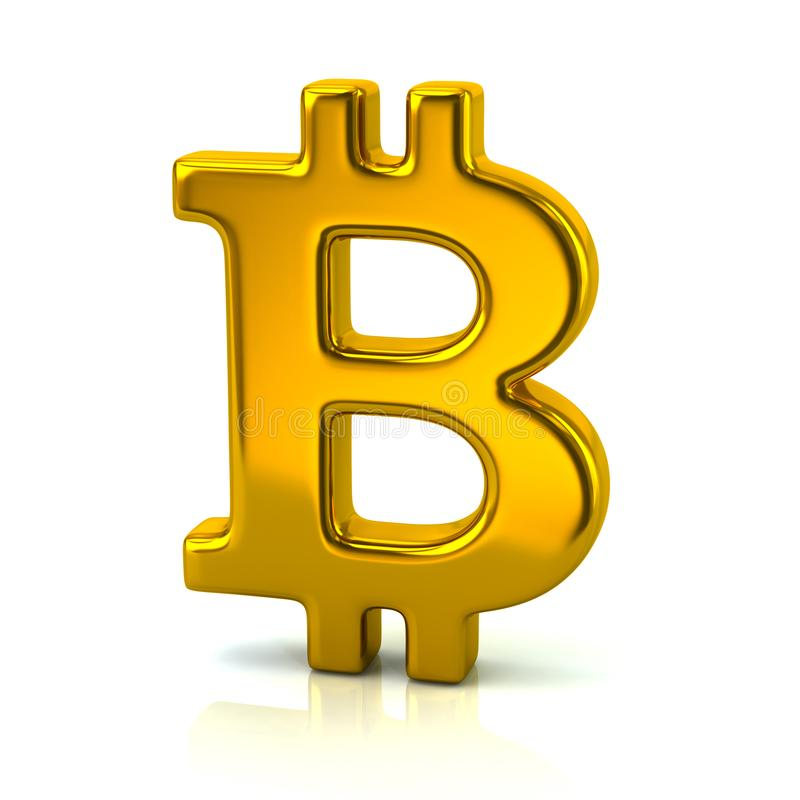 Cryptocurrency golden Bitcoin sign 3d illustration isolated on w. Hite background vector illustration