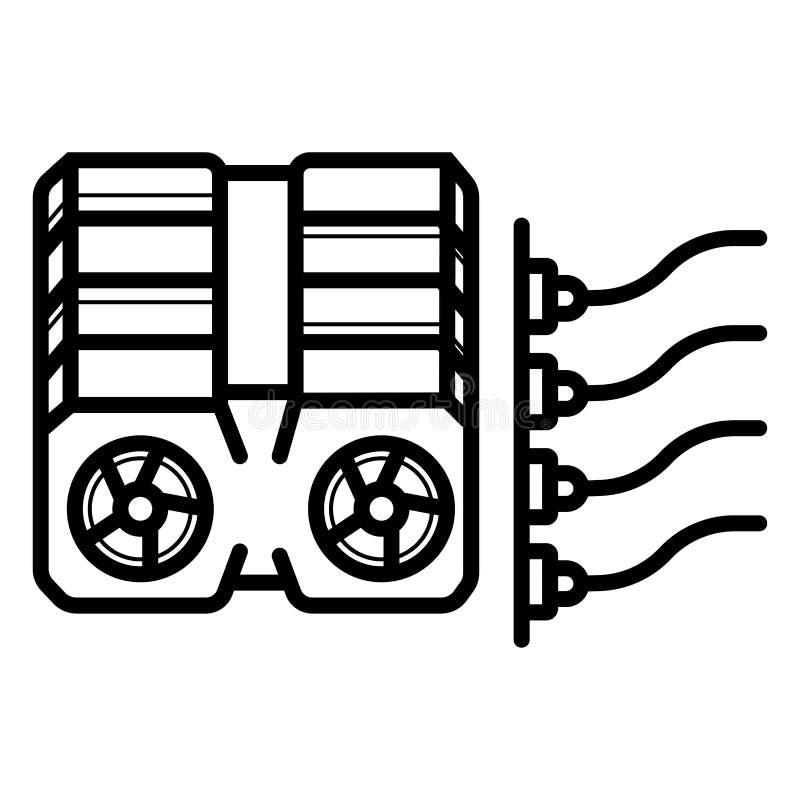 Cryptocurrency-gpu Bergbaubauernhof Grafische Videokarten lizenzfreie abbildung