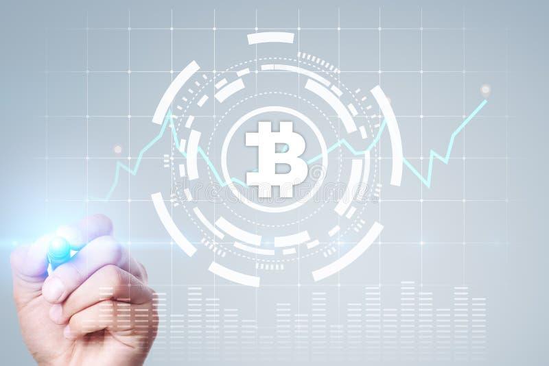 Cryptocurrency graf på den faktiska skärmen Affärs-, finans- och teknologibegrepp Bitcoin Ethereum vektor illustrationer