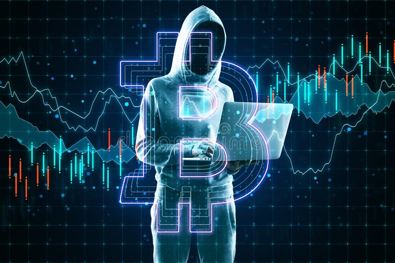 Cryptocurrency and hacking concept with no face hacker with laptop and bitcoin sign stock images
