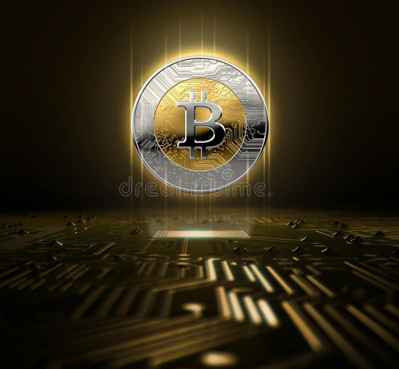 Cryptocurrency Hologram And Circuit Board. A cryptocurrency bitcoin hologram in gold and silver physical coin form hovvering over a computer circuit board- 3D stock illustration